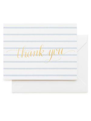 Sweet Thank You Blue Stripe Note Set/Set of 6