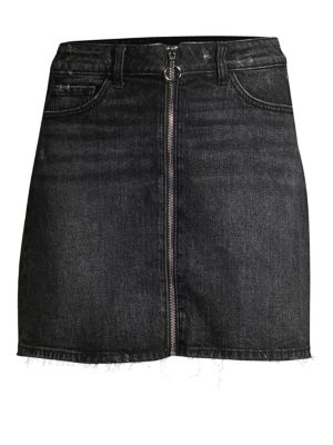 Aideen Zip-Front Denim Mini Skirt