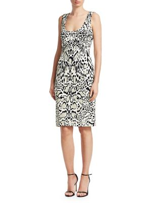 Punto Sleeveless Animal Print Pencil Dress