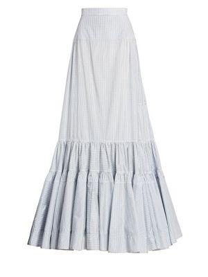 Grid Check Long Skirt