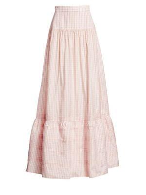 Check Silk Long Skirt