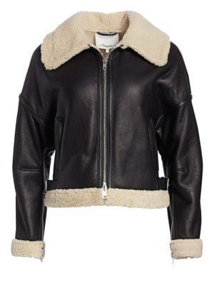 Dolman Aviator Style Shearling-Trim Leather Jacket, Black Natural