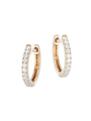 18K Rose Gold Small Diamond Huggie Earrings