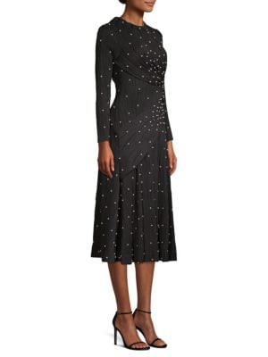 Faux-Pearl Ribbed Jersey Dress