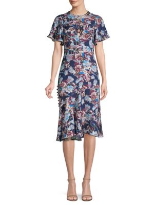 Floral Charmeuse Flutter Sleeve Dress