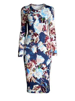 PRABAL GURUNG Floral-Print Jersey Bodycon Dress