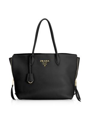Cammeo Leather Shopping Bag, Black