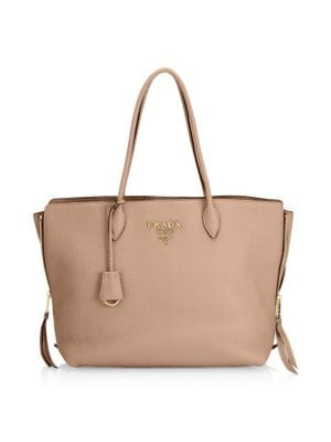 Cammeo Leather Shopping Bag, Tan