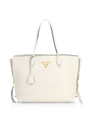 Cammeo Leather Shopping Bag, White
