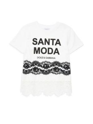 Little Girl's & Girl's Short Sleeve Santa Moda Lace T-Shirt