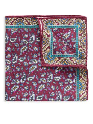Neat Paisley Silk Pocket Square