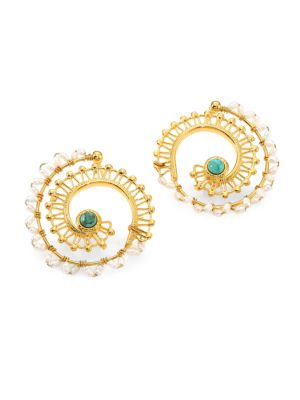 GAS BIJOUX Comedia 24K Goldplated Multi-Bead Hoop Earrings