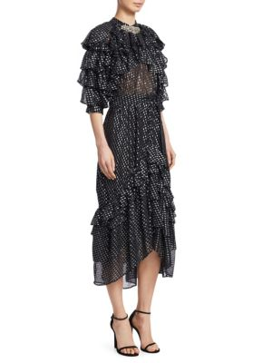 DODO BAR OR Doris Metallic Polka Dot Chiffon Midi Dress