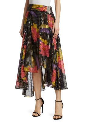 DODO BAR OR Vera Floral & Metallic Polka Dot-Print Midi Skirt