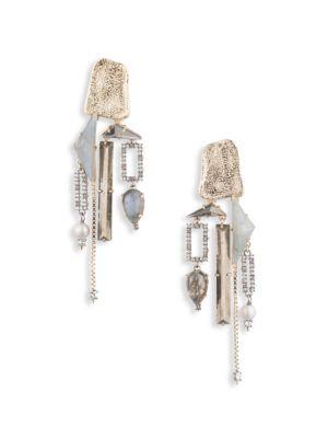 Brutalist Butterfly Stone Chandelier Clip Earrings