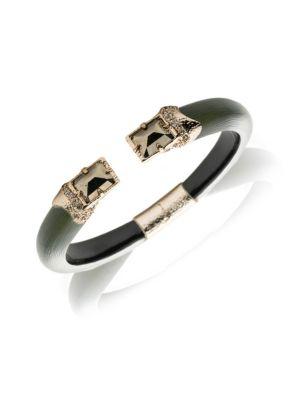 ALEXIS BITTAR | Brutalist Butterfly Stone Baguette Hinge Bracelet | Goxip