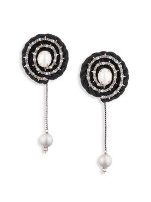 ALEXIS BITTAR | Faux Pearl & Swarovski Crystal Yellow Goldtone Clip Earrings | Goxip