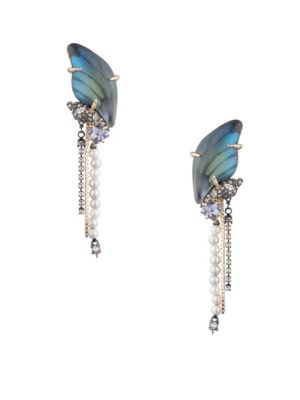 Brutalist Butterfly 10K Gold Swarovski Crystal, Shell Pearl & Blue Corundum Clip-On Drop Earrings