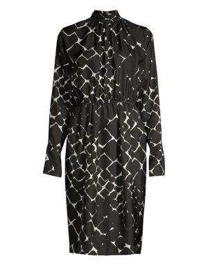 Printed Silk Sheath Dress
