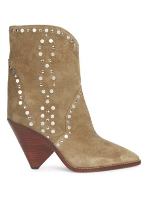 Lamsen Embellished Suede Mid-Calf Boots