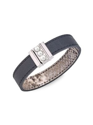 Amazona 5MM Mabé Pearl Leather Magnetic Bracelet