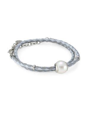 MAJORICA Amazona Braided Double Wrap Leather Imitation Pearl Bracelet