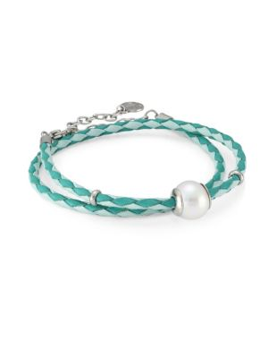 MAJORICA Amazona Braided Double-Wrap Imitation Pearl & Leather Bracelet