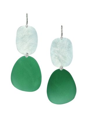 MEIRA T White Gold Diamond and Gemstone Drop Earrings