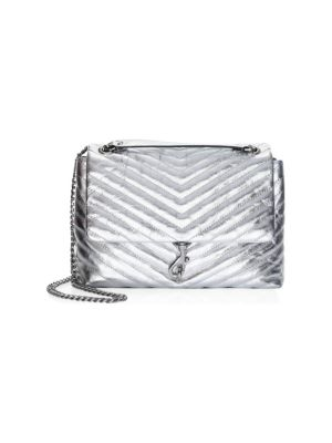 Edie Metallic Leather Flap Crossbody Bag