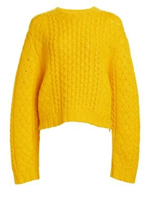 Aran Cropped Wool Cable Knit Sweater