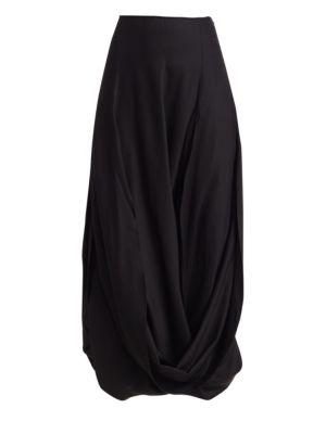Nahil Draped Front Slit Midi Skirt
