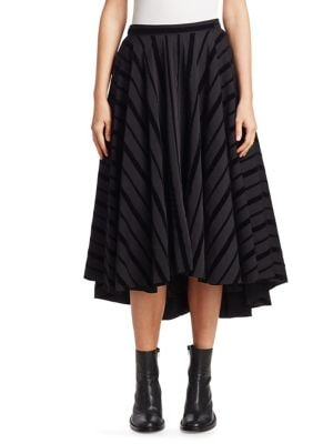 Flare Striped A-Line Midi Skirt
