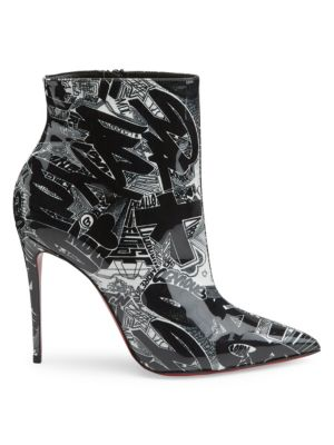 So Kate 100 Printed Patent Leather Booties