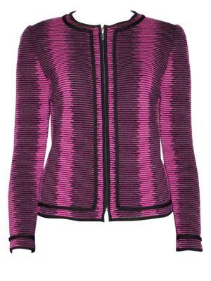STIZZOLI, PLUS SIZE Wool Stripe Tailored Jacket in Black Fuchsia