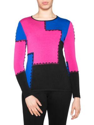 STIZZOLI, PLUS SIZE Colorblock Sweater in Black Fuchsia Blue