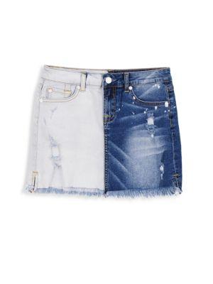 Girl's Two-Tone Denim Mini Skirt