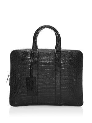 SANTIAGO GONZALEZ Crocodile Slim Briefcase in Black