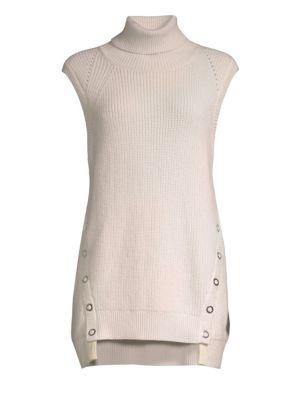 Wool & Cashmere Sleeveless Turtleneck Sweater