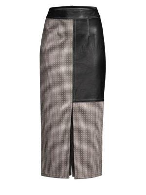 Tweed Leather Panel Midi Pencil Skirt