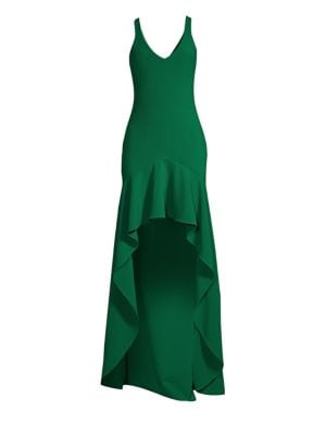 Sylvie Ruffled High-Low Gown