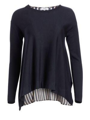 AKRIS PUNTO   Striped Back Wool Sweater   Goxip