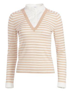 Illusion Collar Striped Sweater Top