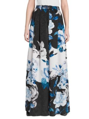 Floral Silk Wide-Leg Pants