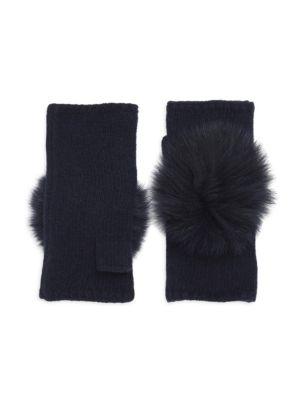 CAROLYN ROWAN Fox Fur Pom Pom Fingerless Gloves
