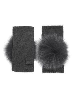 CAROLYN ROWAN Fox Fur Pom Pom Cashmere Fingerless Gloves