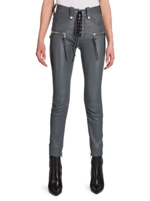 Lace-Up Leather Jeans