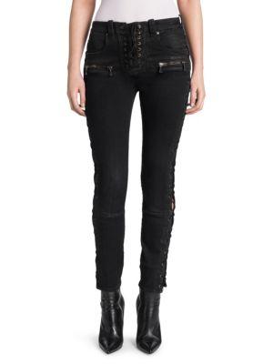 Wax Denim Lace-Up Skinny Jeans