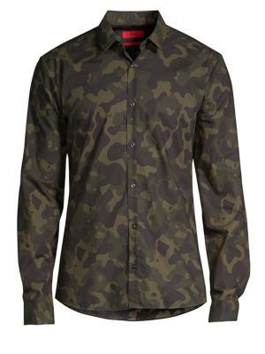 HUGO BOSS Ero Camo Cotton Woven Shirt