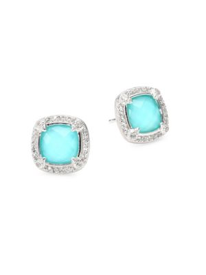 JUDE FRANCES Lisse White Topaz, Turquoise & Sterling Silver Cushion Stone Pavé Stud Earrings