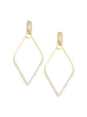 JUDE FRANCES Lisse Diamond & 18K Yellow Gold Earring Charm Frames